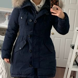 Moncler Jackets & Coats - Moncler Navy Blue Aredhel Hooded Coat with Fox Fur